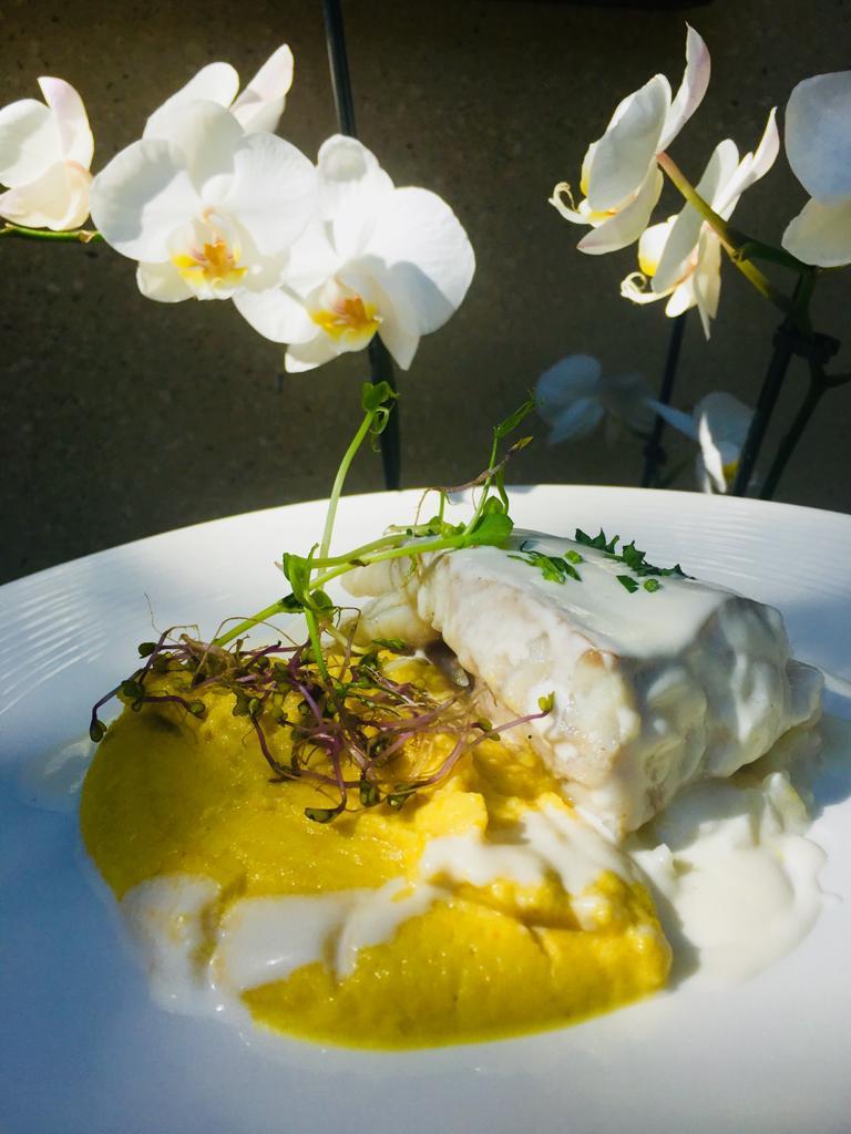 Filet de lieu citronnelle et purée de courgettes jaunes